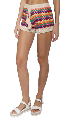 Darah Dahl Striped Crochet Shorts