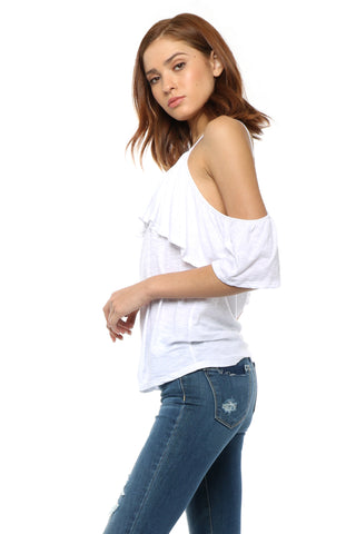 Jac Parker Ruffle Cold Shoulder Tee