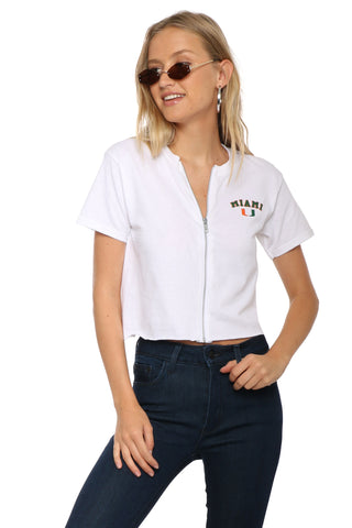 Retrobrand Miami Zip Up Crop Tee