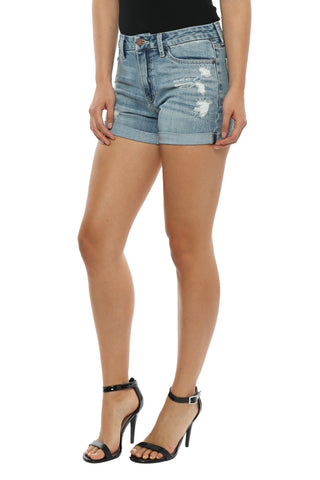 Just Black Cuffed Denim Short