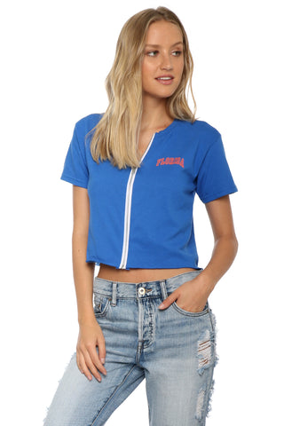 Retrobrand Florida Zip Up Crop Tee