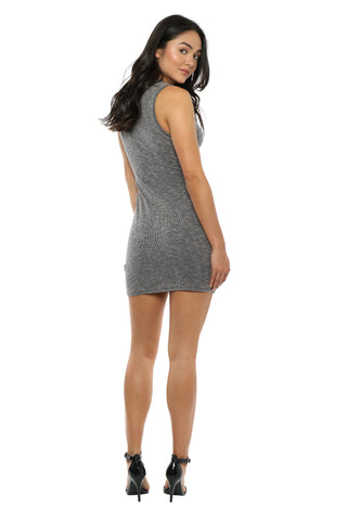 Jac Parker Ribbed Lace Up Mini Dress