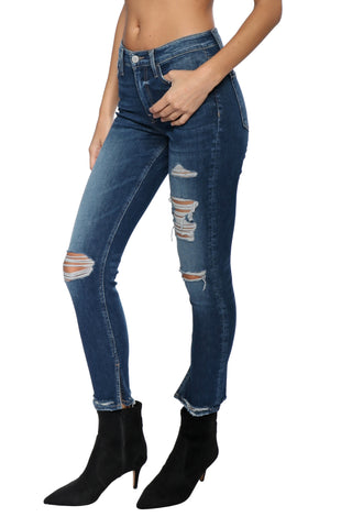 Flying Monkey High Rise Distress Ankle With Slit Jean