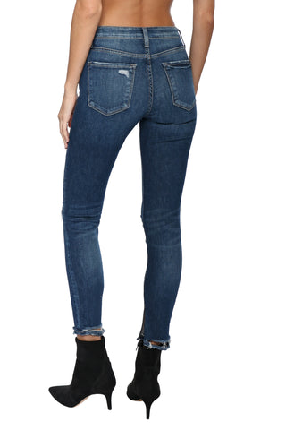 Flying Monkey High Rise Distress Ankle With Slit Jeans