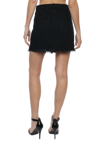 Brooklyn Karma Distressed Unbalanced Denim Skirt