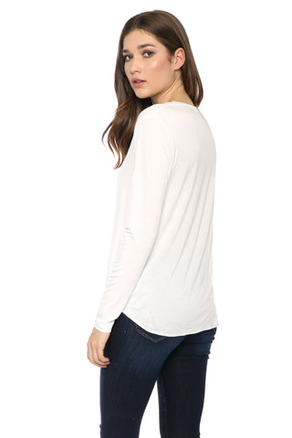 Malibu Beach Basics Signature LS V Neck Top