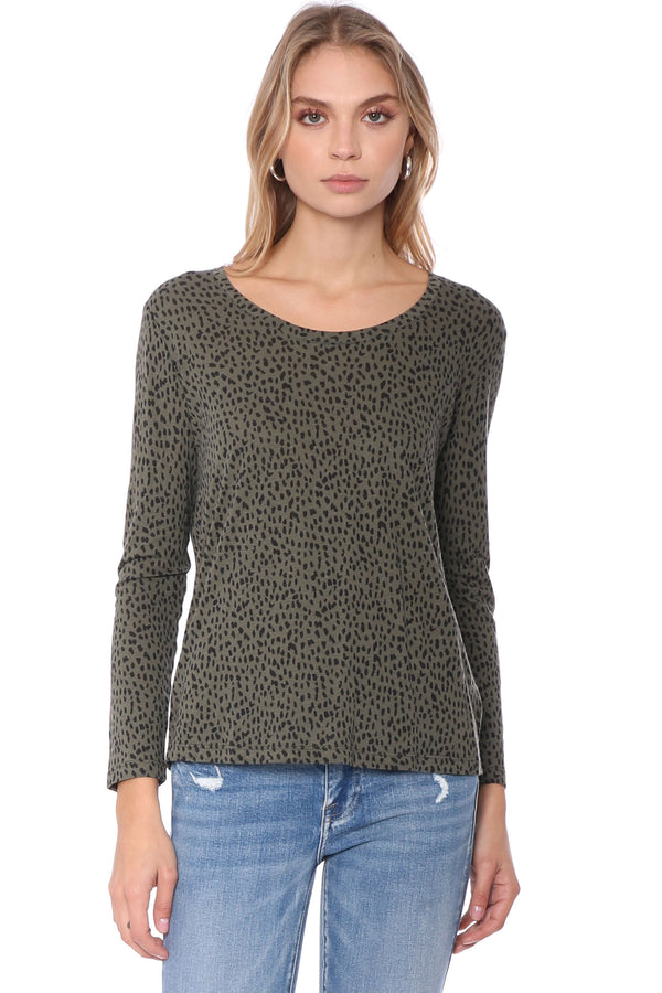 Colby Top Olive Mini Spotted