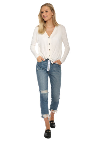 Jac Parker Ribbed Twist Front Button up