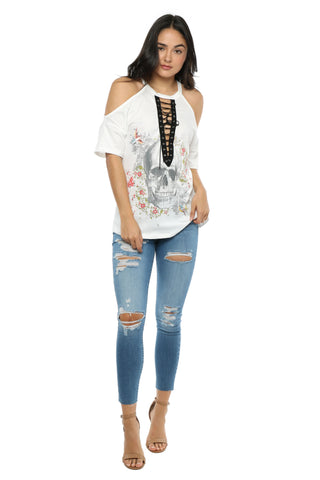Jonathan Saint Flower Skull Lace Up Tee