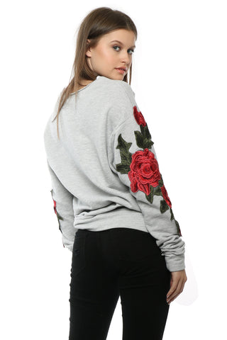 Brooklyn Karma Rip Rose Embroidery Pullover