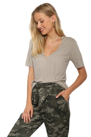 Jac Parker Raw Edge V Neck BF Tee