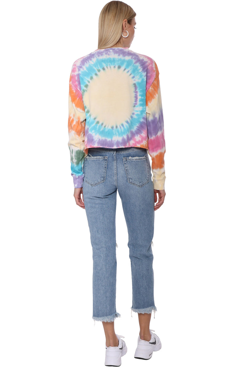 Grateful Dead Tie Dye Long Sleeve Crop Top