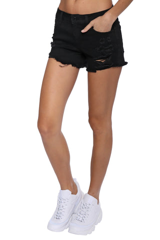Just Black Mid Rise Super Destroyed Shorts