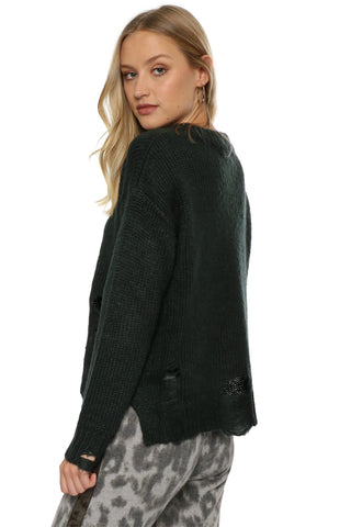 Fox + Hawk Distressed Cable Sweater