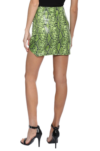 Jordyn Jagger Shirring Snake Mini Skirt