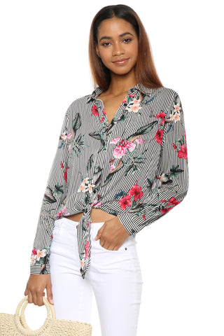 Sunday Stevens Floral Stripe Top
