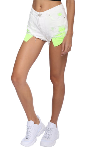 Brooklyn Karma Neon Pocket White Shorts