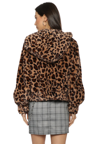 Brooklyn Karma Leopard Faux Fur Jacket