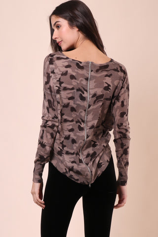 Gab & Kate Camo Zip Back Sweater