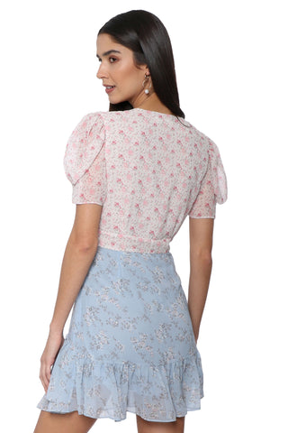 Shabby Chic Floral Twin Print Flounce Dress