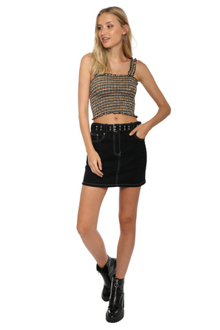 Jordyn Jagger Plaid Smocking Crop Top