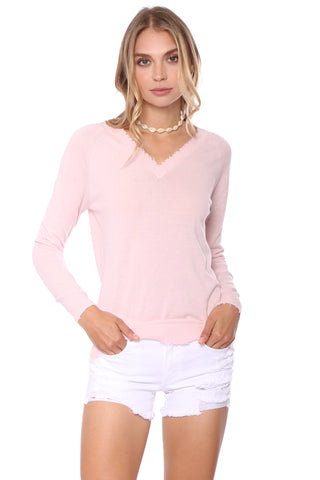 Decker Luxe V Neck Distressed Sweater