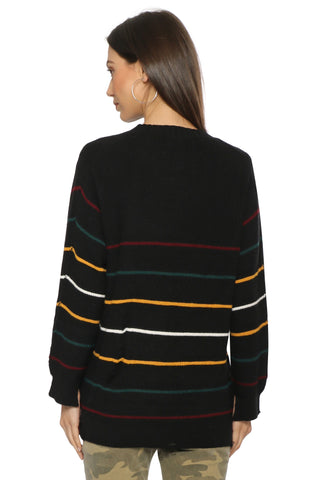 Sunday Stevens Pin Stripe Distressed Sweater