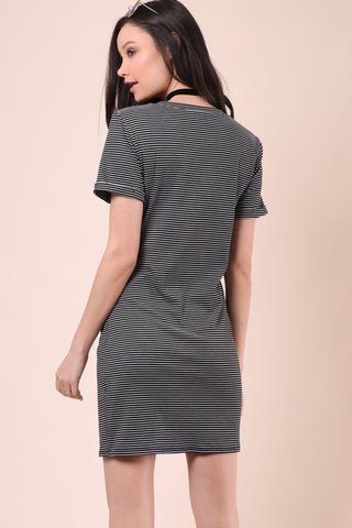 Gab & Kate Striped Knot Tee Dress