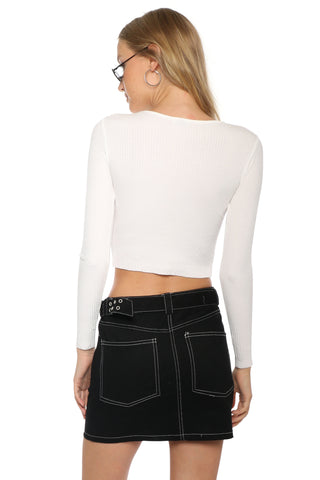 Malibu Beach Basics L/S Rib Boat Neck Crop Top