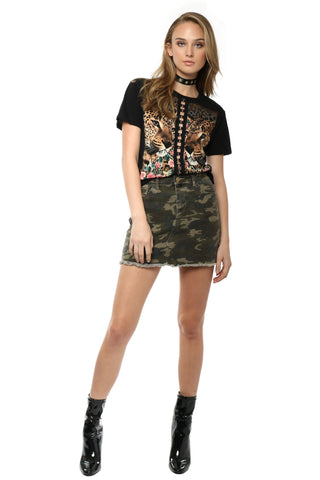 Brooklyn Karma Camo Mini Skirt