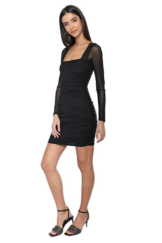 A World Away Mesh Long Sleeve Mini Dress