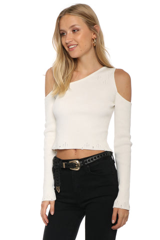 Brooklyn Karma Distressed One Shoulder Crop Tee