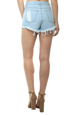 Brooklyn Karma Rose Embroidered Cut Off Shorts