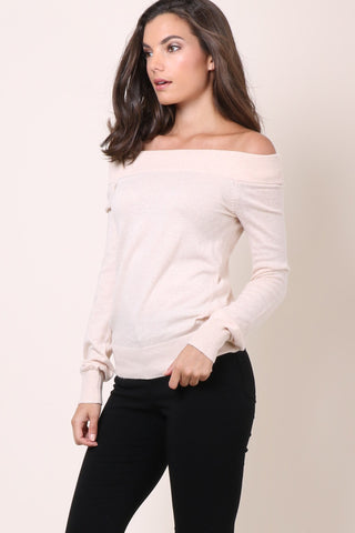 Gab & Kate Off The Shoulder Sweater - Taupe