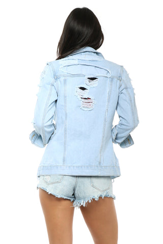 Brooklyn Karma Lace Up Distressed Denim Jacket