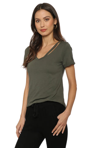 Jac Parker S/S V Neck Cut Out Tee