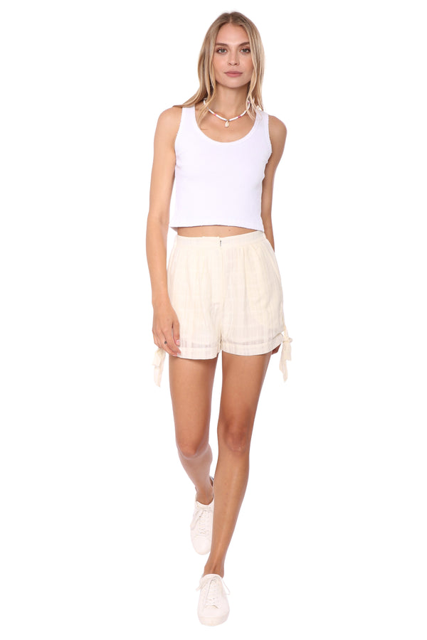 Shabby Chic Jasper Side Tie Shorts White