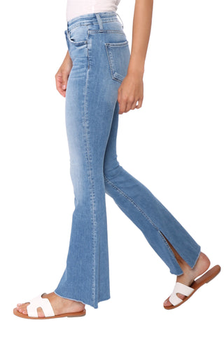 Flying Monkey Mid Rise Comfort Waist Raw Hem Flare Jeans