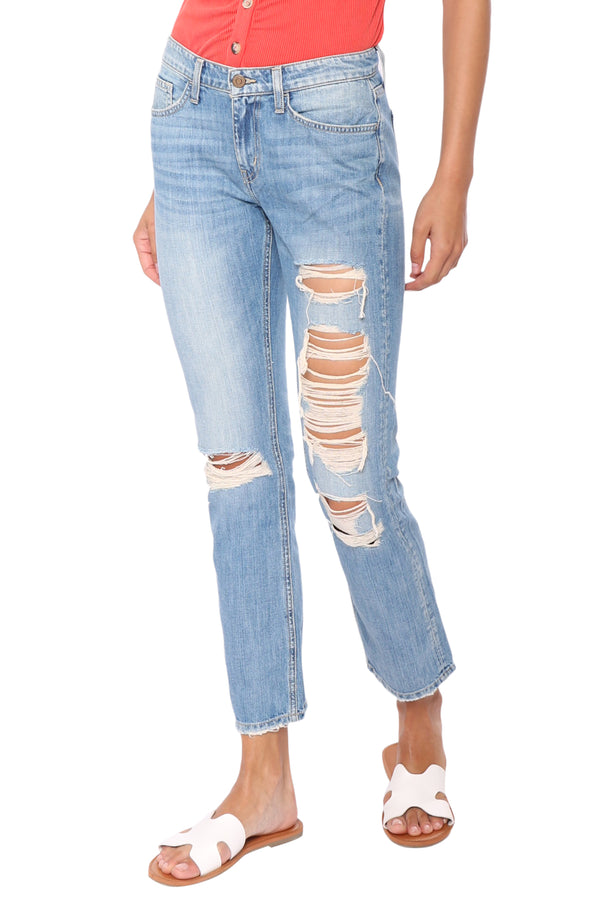Flying Monkey Mid Rise Distressed Straight Jeans