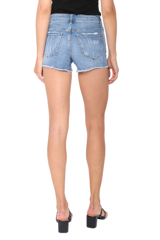 Vervet Mid Rise Raw Hem Denim Short