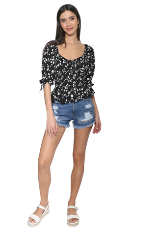 Just Black High Rise Distressed Short