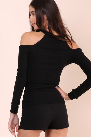 Jac Parker Mock Neck Cold Shoulder Top - Black