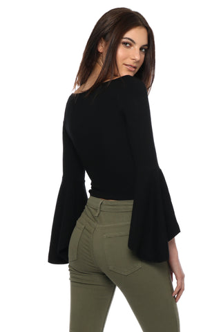 Suzette Ribbed Off The Shoulder Bell Crop