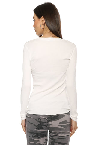 Malibu Beach Basics L/S Rib V Neck Top
