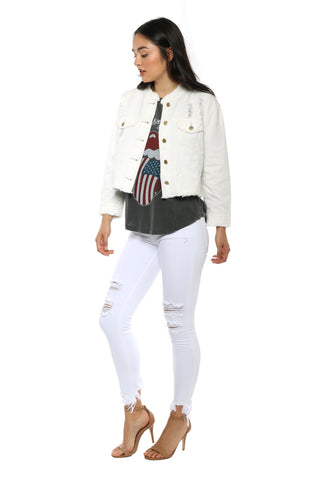 Gab & Kate White Distressed Denim Jacket