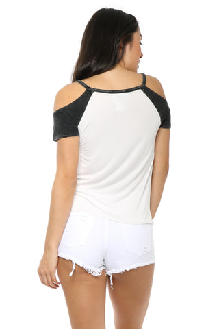 Gab & Kate Colorblock Cold Shoulder Tee
