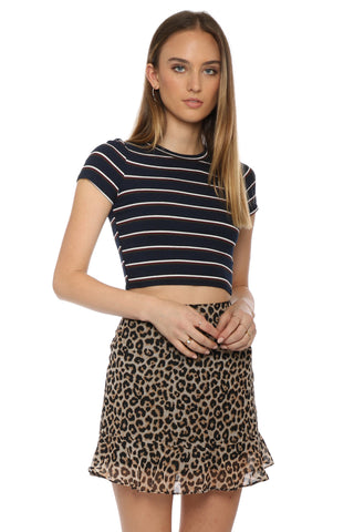Sunday Stevens S/S Striped Ribbed Crop Top