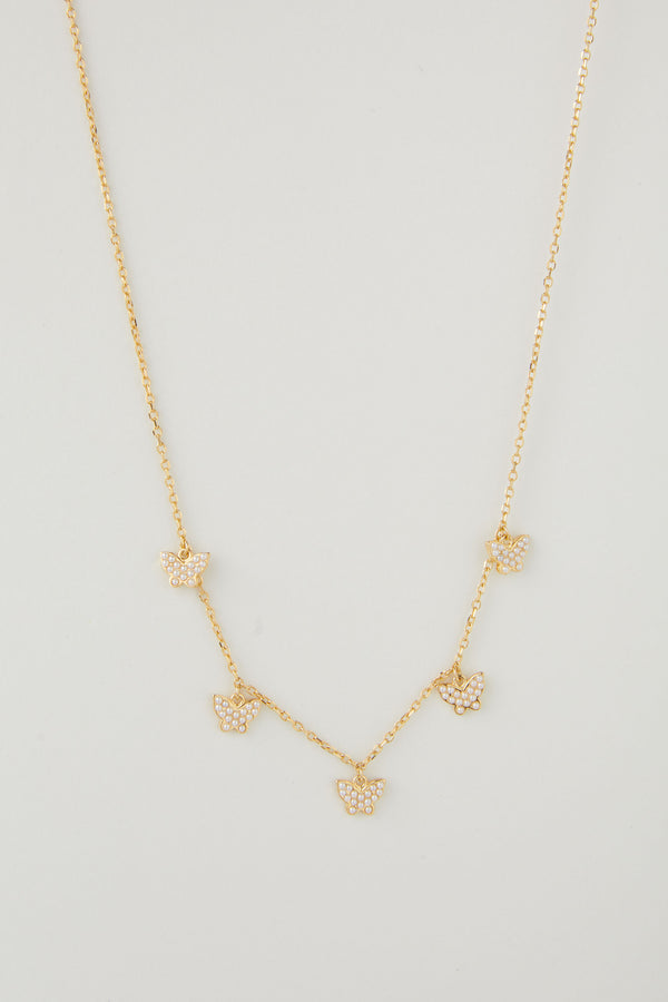 June Multi Pearl Butterfly Necklace
