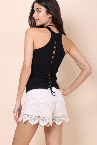 Suzette Lace Up Back Ribbed Cami - Black