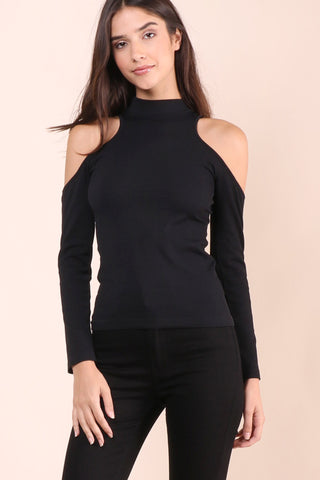 Suzette Mock Neck Cold Shoulder Top - Black